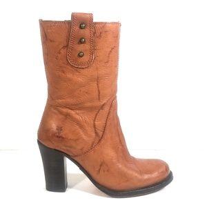Frye 77730 Women Marble Brown Stud Heel Boots 8 B
